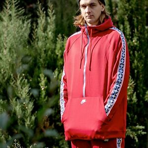 e3e5edd0d4 nike Sportswear NSW Poly 1 2 Half Zip Taped Jacket RED MENS SIZES ...