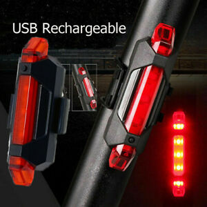 5Led Usb Rechargeable Bike Tail Light Bicycle Safety Cyclings Warning Rear Lamp#