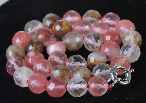 Fine New  Multicolor Faceted Watermelon Tourmaline Gemstone Round Necklace