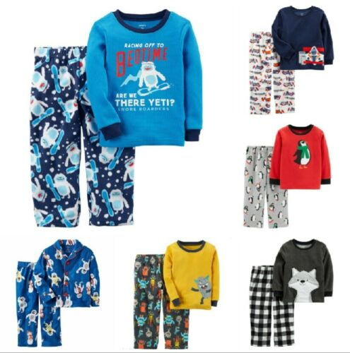 NWT Toddler Boys CARTER/'S  2-Pc Pajamas Sets Flannel Fleece Button-Front 2T-3T
