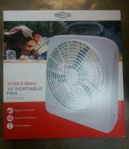 RoadPro 10-Inch Portable Fan Battery or 12 VOLT Dual Power
