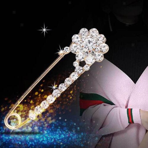 Kristall Große Sicherheitsnadel Brosche Clip für Frauen Dame Schal Mantel