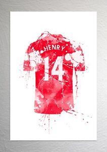 Thierry Henry Arsenal Football Shirt Art Splash Effect A4 Size