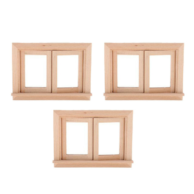 4 Pieces Unpainted Mini Wood 2 Pane, 1 12 Unfinished Dollhouse Furniture