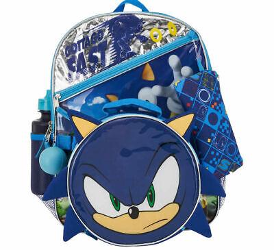 5 Pc 16 Sonic The Hedgehog Backpack Lunch Bag Case Cinch Sack Water Bottle Ebay