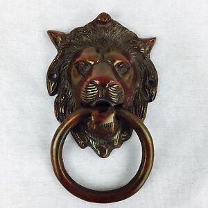 Details About English Vintage Victorian Brass Door Knocker Lion Head Cherry Period Doorknocker