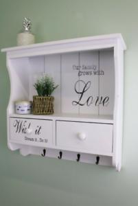 White-Wood-Wall-Unit-2-Drawers-4-Hooks-Hanging-Shelf-Kitchen-Hallway-Storage