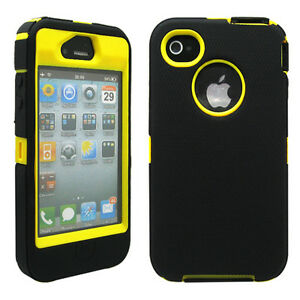 New-Black-amp-Yellow-Three-Layer-Silicone-PC-Case-Cover-for-iPhone-4-4G-4S