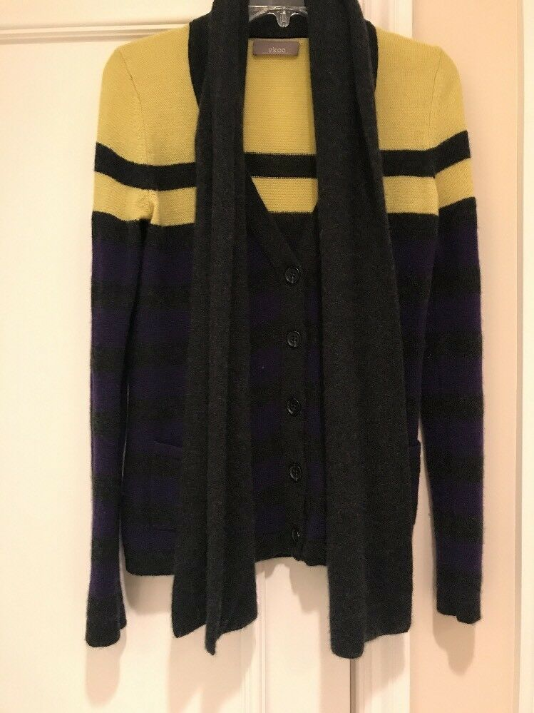 Vkoo 100% Cashmere Button Up Up Up Sweater With A Tie On Attached Scarf Size P 5ca928