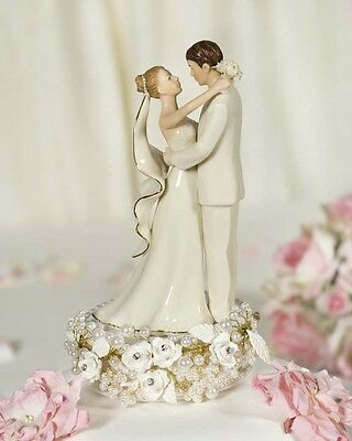 Vintage Rose Pearl 24k Gold Porcelain Wedding Cake Topper Caketop
