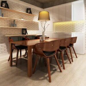 Detalles de vidaXL 6x Sillas de Comedor Madera Cuero Marrón Asientos Bancos  Muebles Cocina