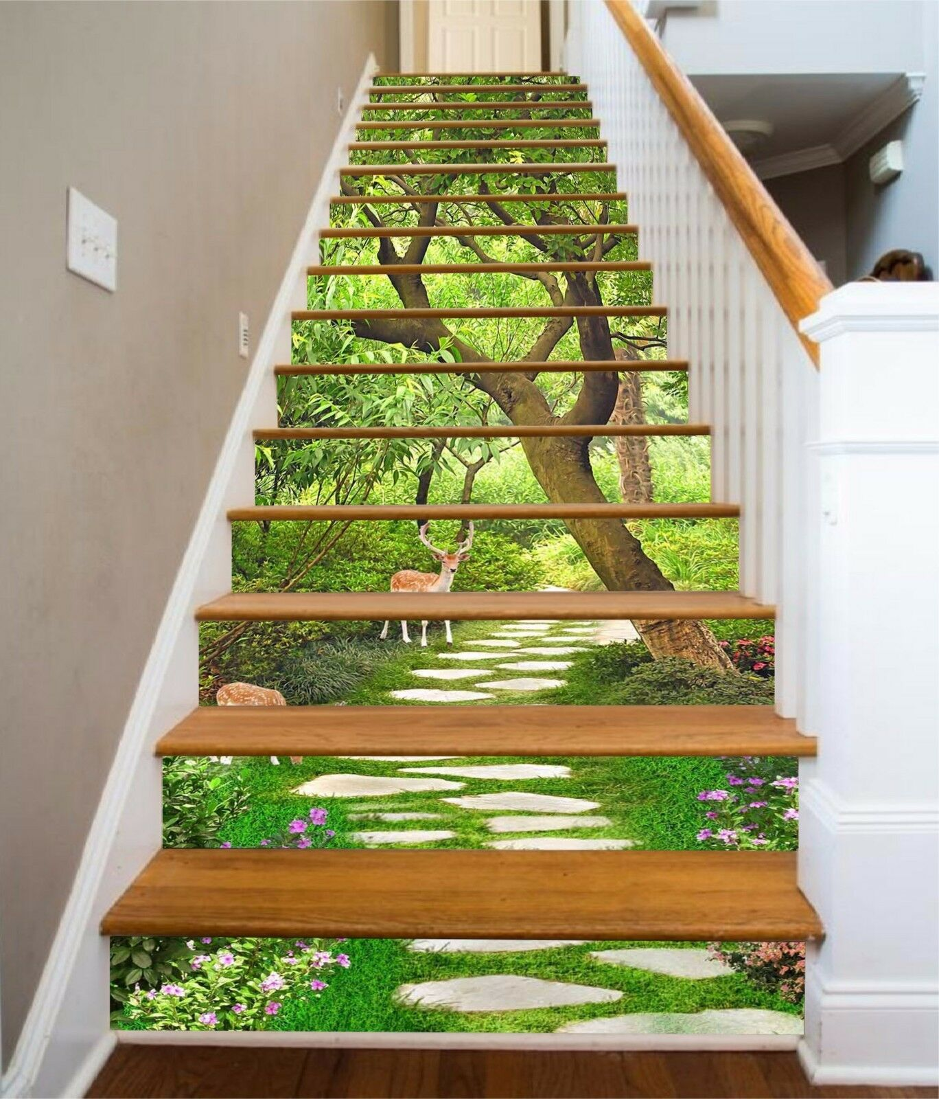 3D Forest Sika Deer 647 Risers Decoration Photo Mural Vinyl Decal Wallpaper CA