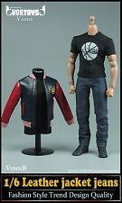*Brand New* Vortoys 1/6 Scale Black/Red Leather Jacket Jeans Set *US Seller*