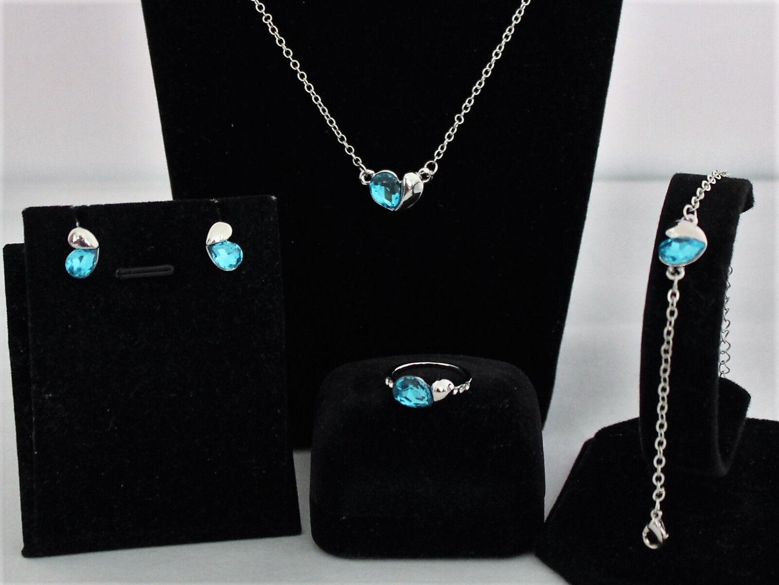 CZ Kristall Groß Herzliebhaber Fallen Ohrringe Halskette Schmuck-Sets für Bräute