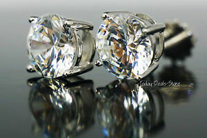 Pierced-Stud-Earrings-2-03-ct-round-cut-screw-back-solid-genuine-14K-white-gold
