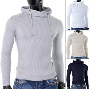 Mens-Thin-Knit-Hoodie-drawstring-Long-Sleeve-Striped-Ribbed-Slim-Fit-Cotton