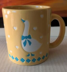 Vintage Waechtersbach Goose Pale Yellow Mug with cutout hearts West Germany
