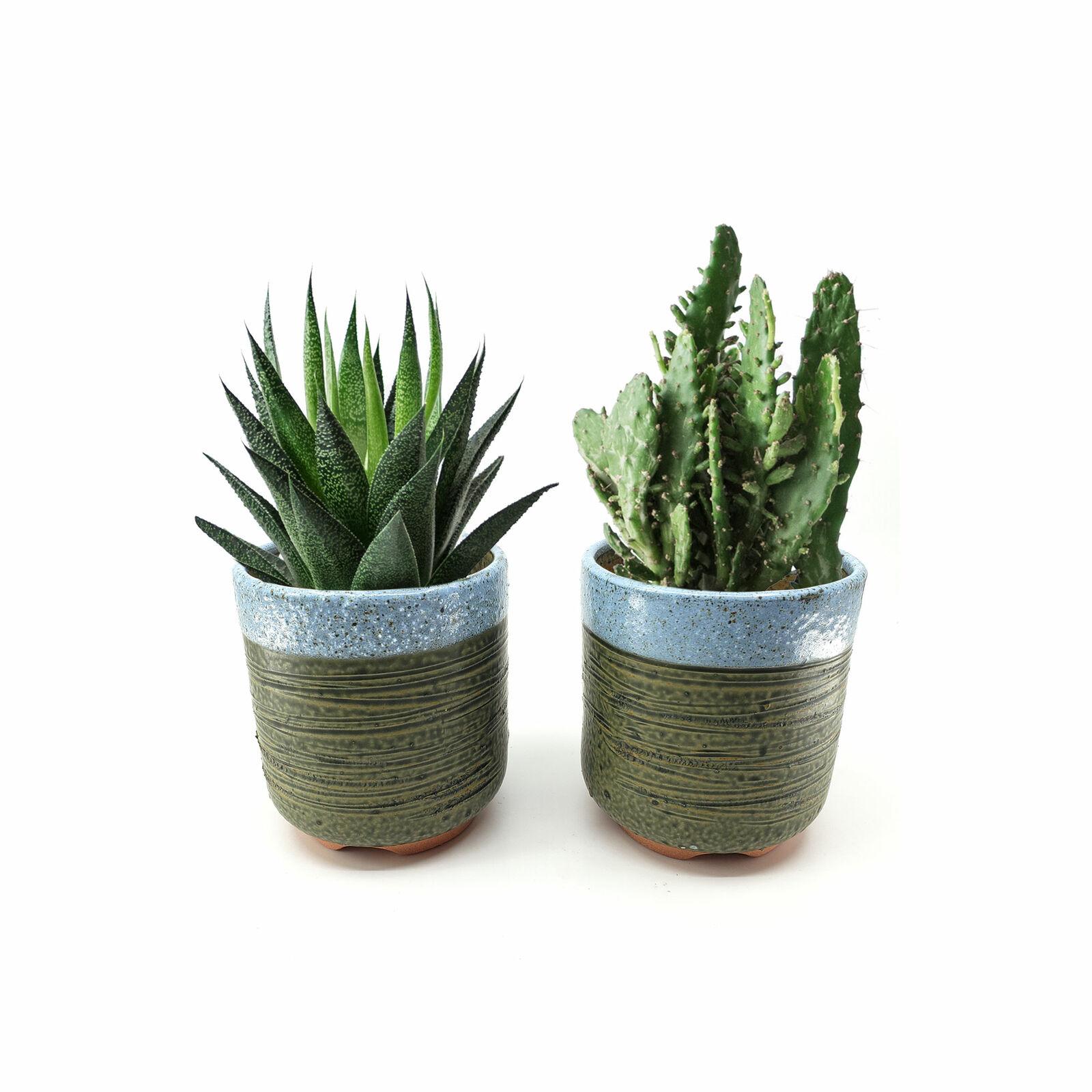 Set of 2, Tomnada 4 Inch Container Planter Ceramic Handmade Flower Pot For Plant