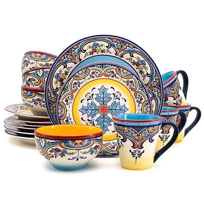 Euro Ceramica Zanzibar 16 Piece Earthenware Dinnerware Set OF 4-WITH WARRANTY