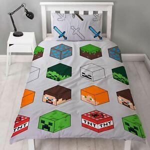 Minecraft-Pixels-Housse-Couette-Simple-et-D-039-Oreiller-Set-Squelette-Steve-Alex