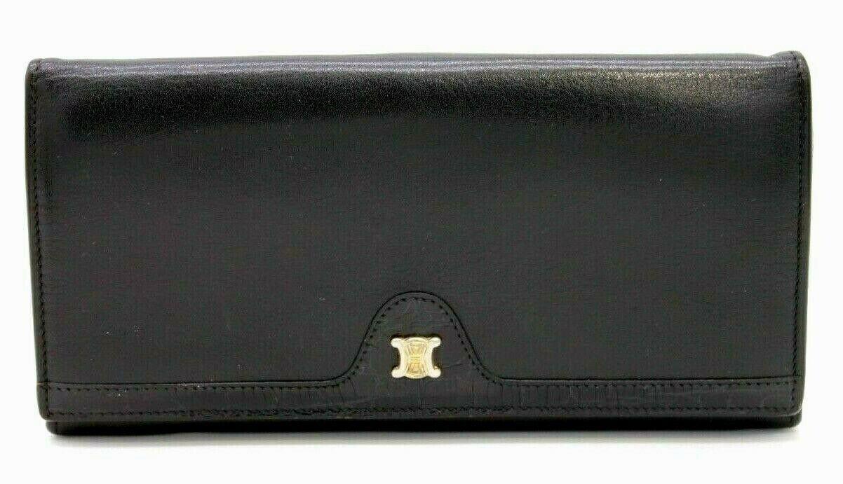 【Rank AB】 Authentic CELINE Vintage Macadam Wallet Purse Clutch Black Leather