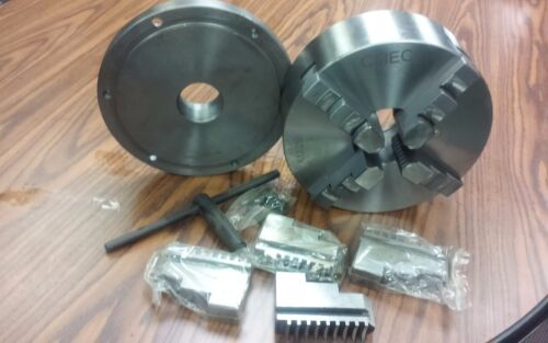 """2-1//4/""""-8 adaptor plate 10/"""" 4-JAW SELF-CENTERING  LATHE CHUCK w extra jaws"""
