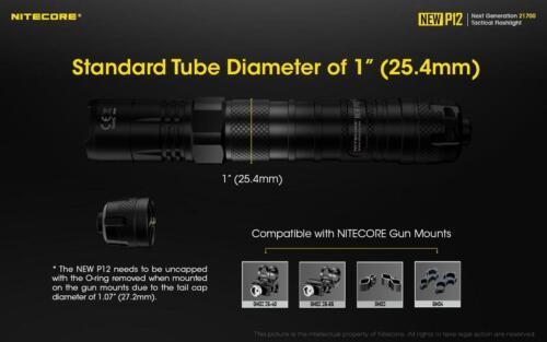 GlobalShipping-Nitecore NEW P12 Tactical LED Flashlight 1200 Lumens NTH10 Ho
