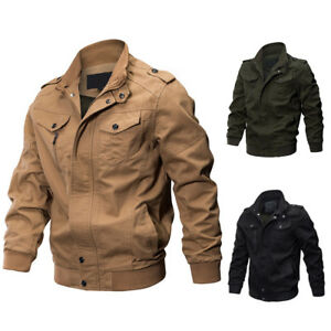 FX-Men-039-s-Military-Army-Pilot-Bomber-Jacket-Long-Sleeve-Tactical-Coat-Outwear-Be