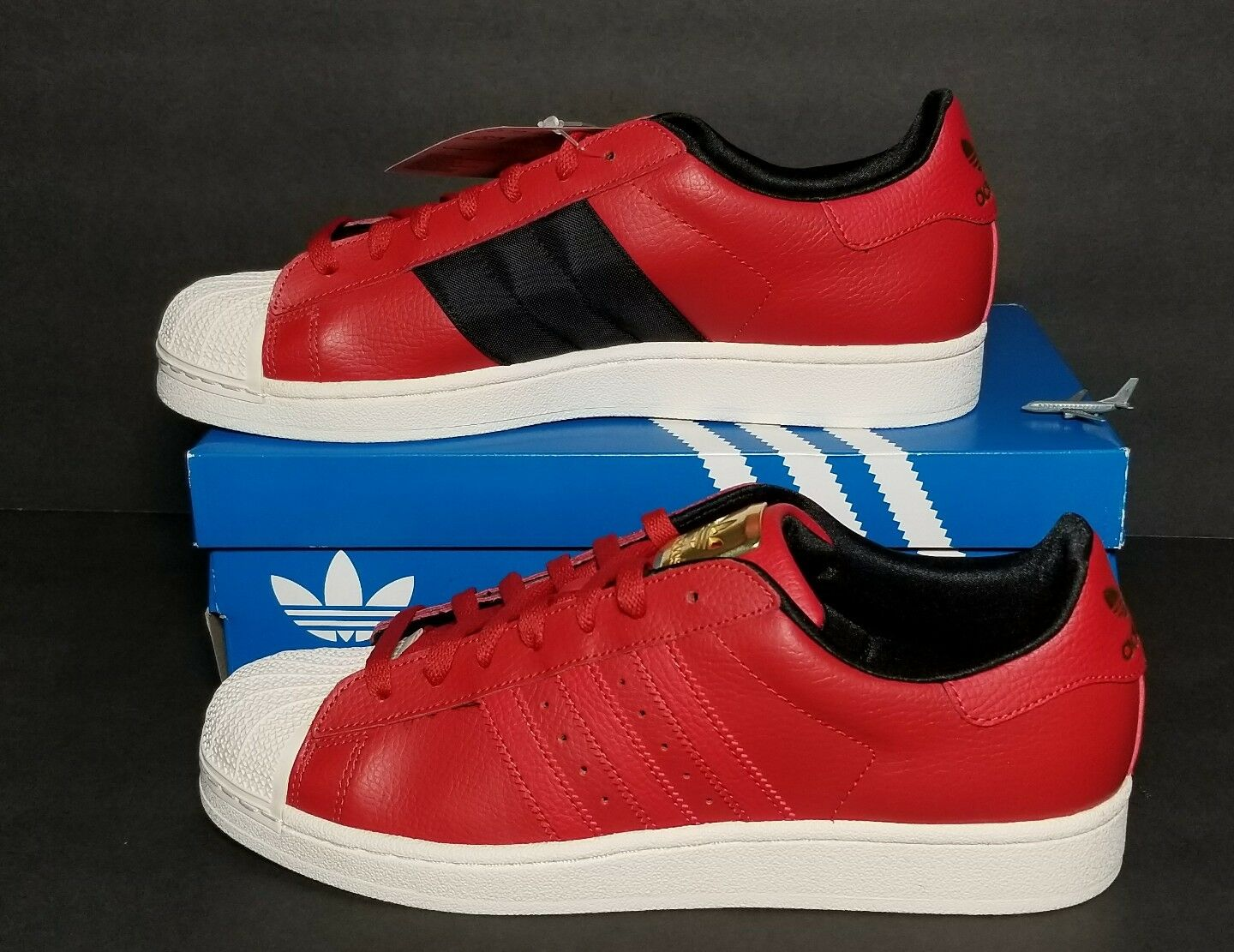 ADIDAS SUPERSTAR II MEN'S MULTIPLE SIZES NEW/BOX RED LEATHER GOLD EMBLEM D74391