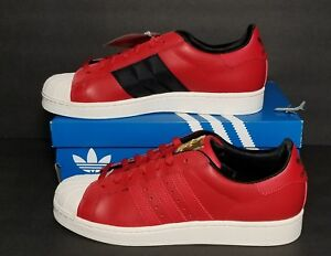 ADIDAS SUPERSTAR II MEN 'S MULTIPLE SIZES NEW/BOX RED LEATHER GOLD EMBLEM D74391