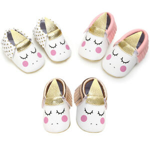 2dbf2f7094 Details about Unicorn Moccasins Newborn Infant Toddler Girls Boy Party  Shoes Moccasin for Baby