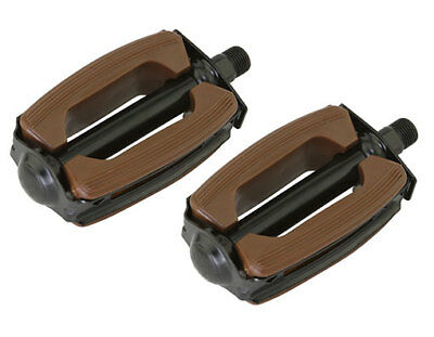 """New Bicycle Krate Rubber Pedals1//2/"""" or 9//16/"""" Black//Gold"""
