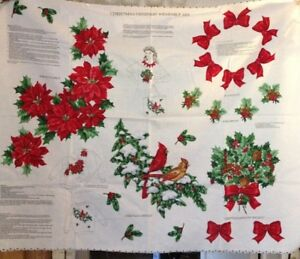Christmas Greenery Images.Details About Christmas Greenery Wearable Art Vintage Fabric Panel