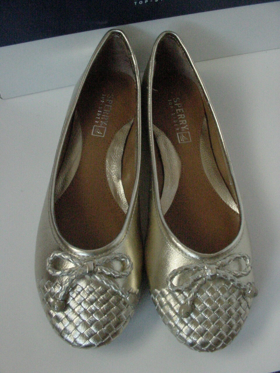 NIB NIB NIB Sperry Top-Sider Maya Flat Platinum gold Silver Leather Women's Sz 7.5 8.5 89ee0f