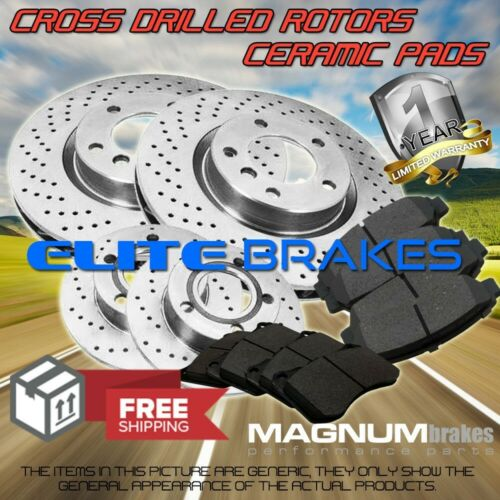 Rear 4 Cross Drilled Brake Rotors /& 8 Ceramic Pads for 2009-2012 Audi A4 Front