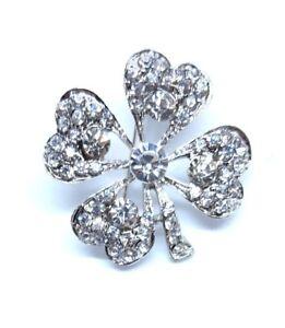 BROOCH-Four-Leaf-Clover-Rhinestone-Silver-Alloy-Brooch-Bouquet-Wedding-Good-Luck