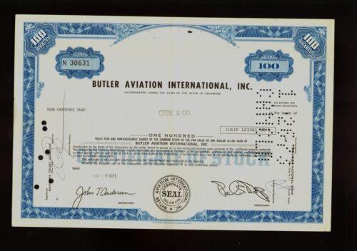 BUTLER AVIATION INTERNATIONAL INC HOUMA LA old stock certificate 1970s