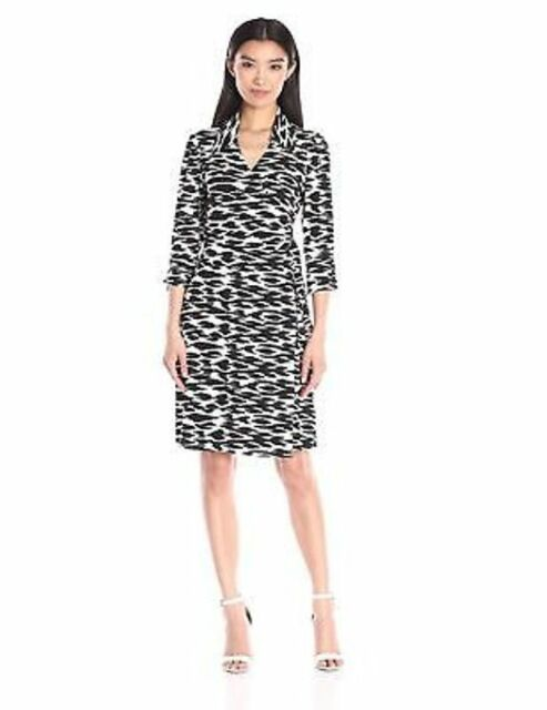 Laundry By Shelli Segal Cool Cat Wrap Dress Womens Size Small Black
