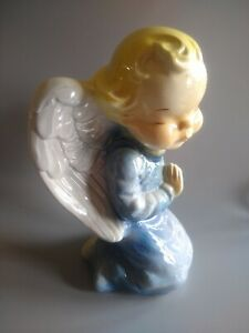 Vintage Royal Copley Blue Praying Angel Planter Wall Pocket Hanger Large 8""