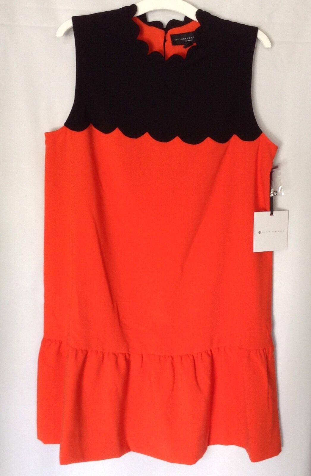 Victoria Beckham Target Shift Dress Sz XL Orange schwarz Drop Waist Scallop Trim