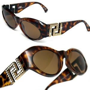 08a148dcc84a Image is loading GIANNI-VERSACE-Vintage-GOLD-CRYSTAL-GREEK-KEY-SUNGLASSES