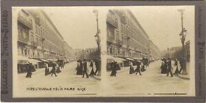 Niza Avenida Felix Calle Animada Francia Foto Estéreo Vintage Analógica