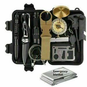 13 In 1 Outdoor Emergency Gear Survival Kit Camping Hiking Tactical Backpack US