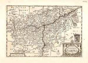 Antique map, Comitatus Namurci