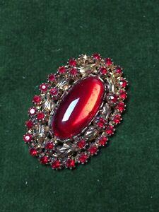 1980s-Broche-Filigrana-De-Cristal-Rojo-PIN-joyas-Patron-Floral-Vintage