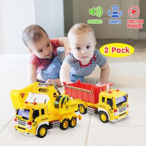 2pcs Large Excavator Dump Truck Engineering Construction Cars Vehicle Kids Toys
