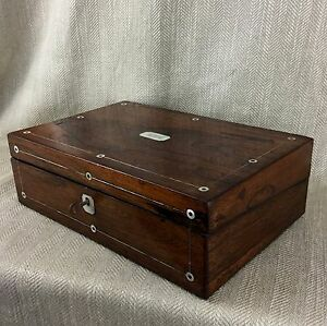 Antique-cigar-Humidor-Victorian-Rosewood-Box-Inlaid-Mother-Of-Pearl