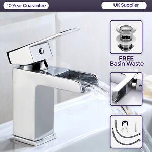 Ozone Waterfall Bathroom Tap Basin Sink Mono Mixer Chrome Cloakroom + Free Waste 5055653258389