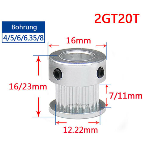 GT2 20T Synchronous Wheel Pitch 2mm Timing Belt Pulley for 6mm 10mm Width Belt
