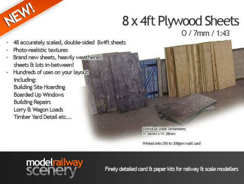 48 SHEETS OF 8ft x 4ft PLYWOOD FOR O GAUGE 1:43 MODEL RAILWAY BUILDINGS AX005-O